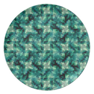 Abstract Green Layers Pattern Dinner Plate