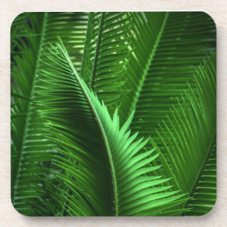 Abstract Green Leaves Coaster