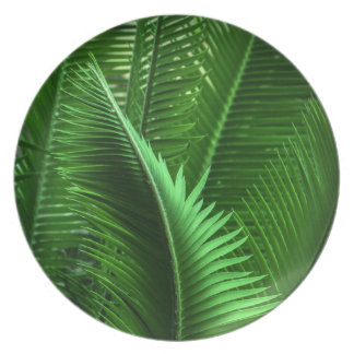 Abstract Green Leaves Dinner Plate