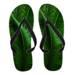 Abstract Green Leaves Flip Flops