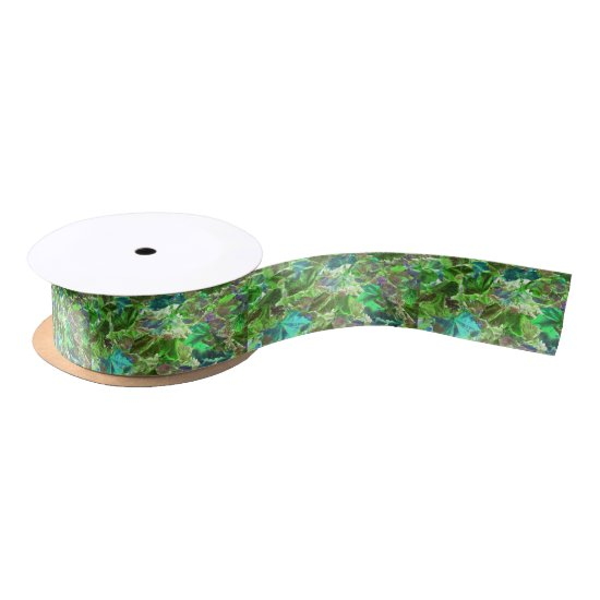Abstract Green Leaves Foliage Satin Ribbon