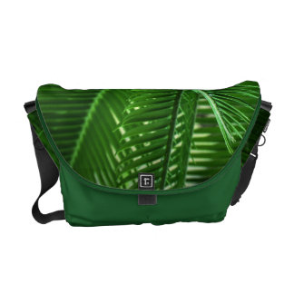 Abstract Green Leaves Messenger Bag