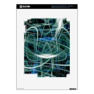 Abstract green light trails decals for iPad 3