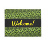 [ Thumbnail: Abstract Green Liquid-Like Splotch Pattern Doormat ]