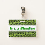 [ Thumbnail: Abstract Green Liquid-Like Splotch Pattern + Name Badge ]