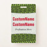 [ Thumbnail: Abstract Green Liquid-Like Splotch Pattern; Name Badge ]