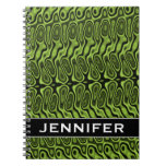 [ Thumbnail: Abstract Green Liquid-Like Splotch Pattern + Name Notebook ]