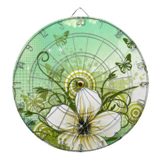 Abstract Green Modern Floral Design Dart Boards