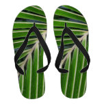 Abstract Green Palm Leaf Flip Flops
