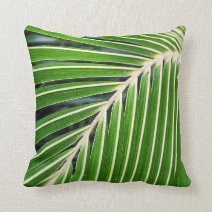 Abstract Green Palm Leaf Pillow