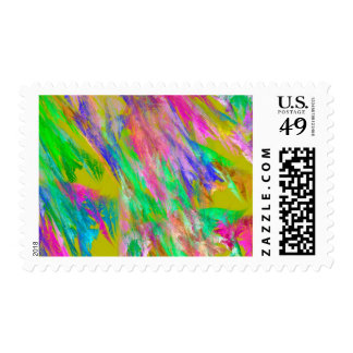 Abstract Green Pink And Blue Fractal Art Stamps