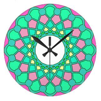 abstract green pink spirograph pattern wall clock