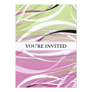 Abstract Green Pink Waves Background Invitation