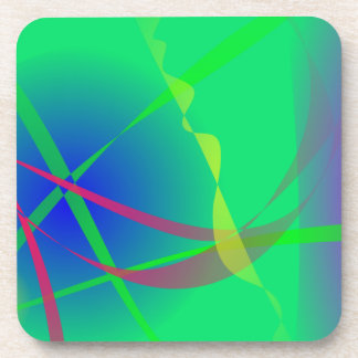 Abstract Green Planet Art Beverage Coaster