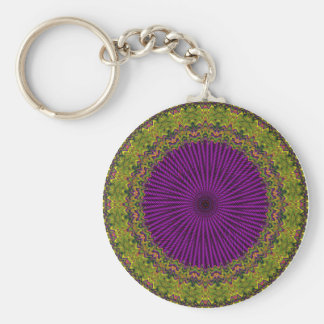 Abstract Green, Purple Red Hued Circle Design Keychain