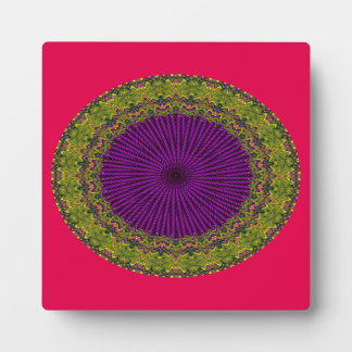 Abstract Green, Purple Red Hued Circle Design Plaque