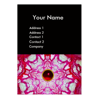 ABSTRACT GREEN RED STAR ,RUBY GEMSTONE MONOGRAM LARGE BUSINESS CARD