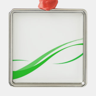 Abstract Green Swoosh Lines Background Metal Ornament