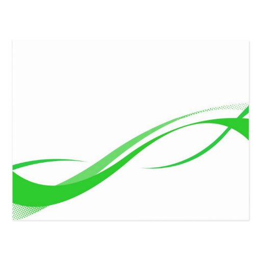 Abstract Green Swoosh Lines Background Postcards