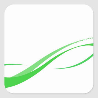 Abstract Green Swoosh Lines Background Square Sticker