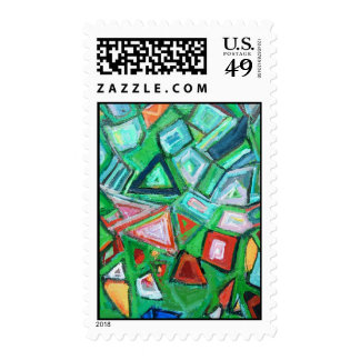 Abstract Green Toy Box (pattern painting) Postage