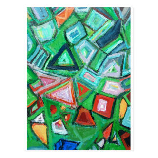 Abstract Green Toy Box (random pattern painting) Post Card