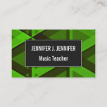 [ Thumbnail: Abstract Green Triangles Pattern Business Card ]