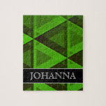 [ Thumbnail: Abstract Green Triangles Pattern + Custom Name Jigsaw Puzzle ]