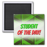 [ Thumbnail: Abstract Green Triangles Pattern Magnet ]