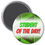 [ Thumbnail: Abstract Green Triangles Pattern Round Magnet ]