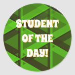 [ Thumbnail: Abstract Green Triangles Pattern Round Sticker ]
