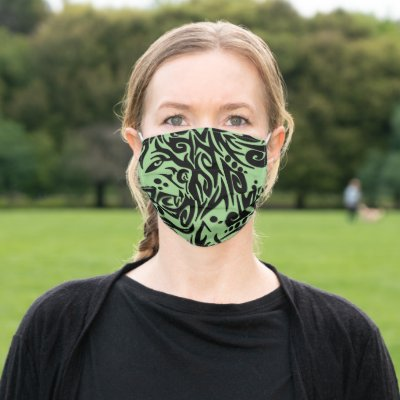 Abstract Green Tribal Wolf Design Cloth Face Mask