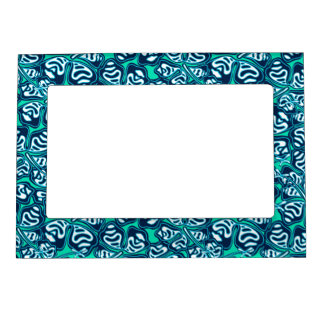 Abstract green tropical floral magnetic photo frame