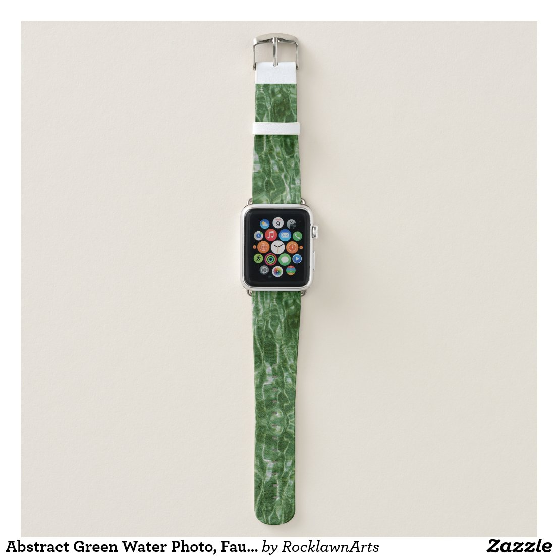 Abstract Green Water Photo, Faux Marble Apple Watch Band