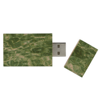 Abstract Green Water Wood Flash Drive