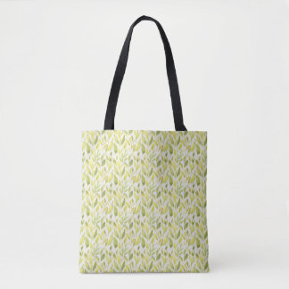 Abstract Green Watercolor Leaves and Stems Tote Bag