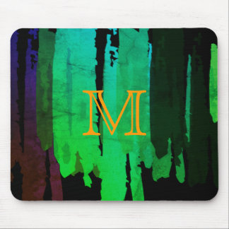 Abstract Green Watercolor Splatter Art Vintage Mouse Pad