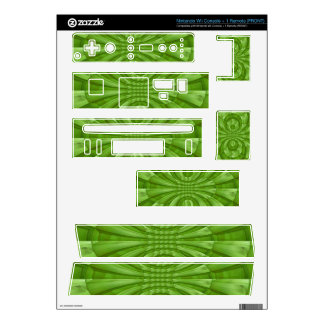 Abstract green Wood Pattern Decal For Wii