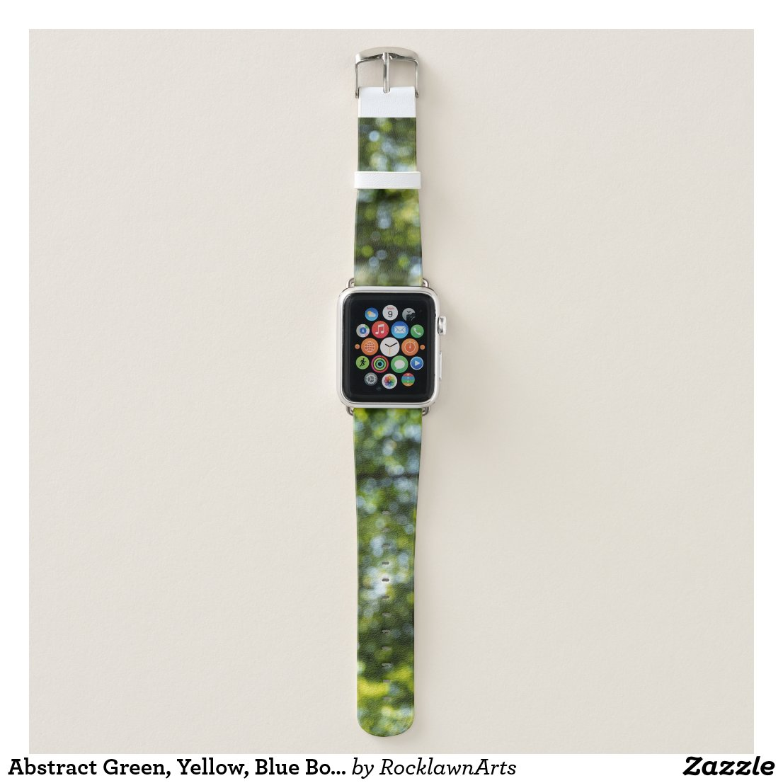 Abstract Green, Yellow, Blue Bokeh Dots Apple Watch Band