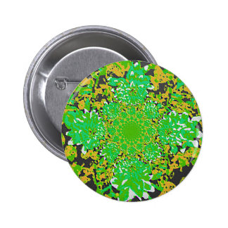 Abstract Green-Yellow Floral Dahlia Flower Pattern Pins