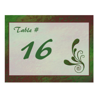 Abstract Greens Table Number Card