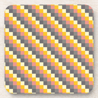 Abstract Grid Color Pattern Coaster