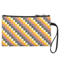 Abstract Grid Color Pattern Suede Wristlet Wallet