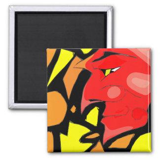 Abstract Grinning Devil Art Magnet