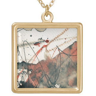 Abstract grunge background, ink texture. 5 square pendant necklace