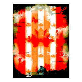 Abstract Grunge Canada Flag Design Postcard