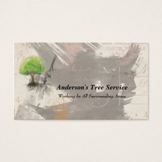 Abstract Grunge Collage Tree Business Cards