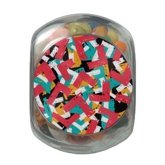 Abstract grunge hipster pattern design jelly belly candy jar