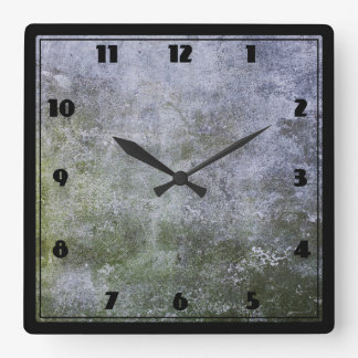 Abstract Grunge Moss Covered Concrete Wall Texture Square Wall Clock