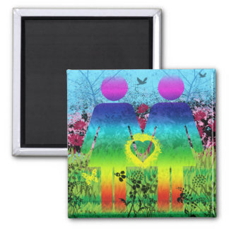 Abstract Grunge Rainbow Love Magnet